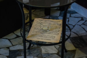 Table and sheet music